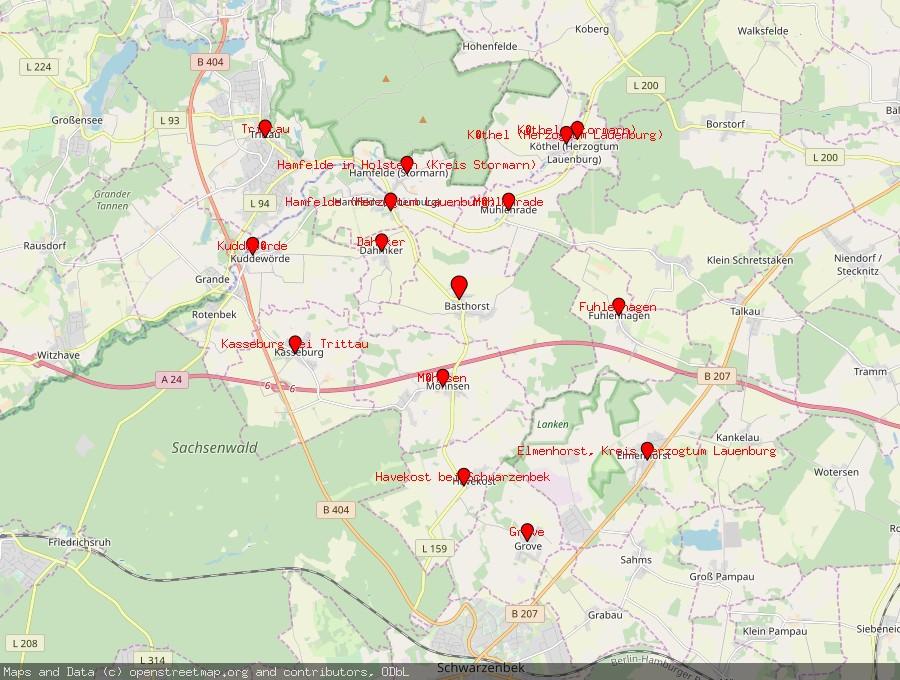 Landkarte von Basthorst, Kreis Herzogtum Lauenburg