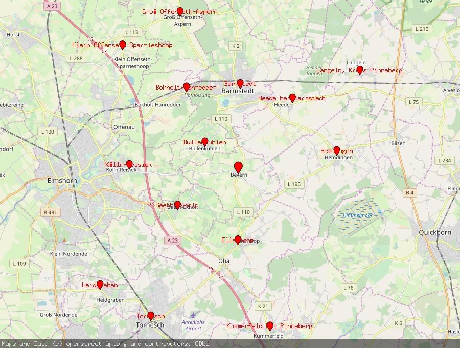 Landkarte von Bevern, Holstein