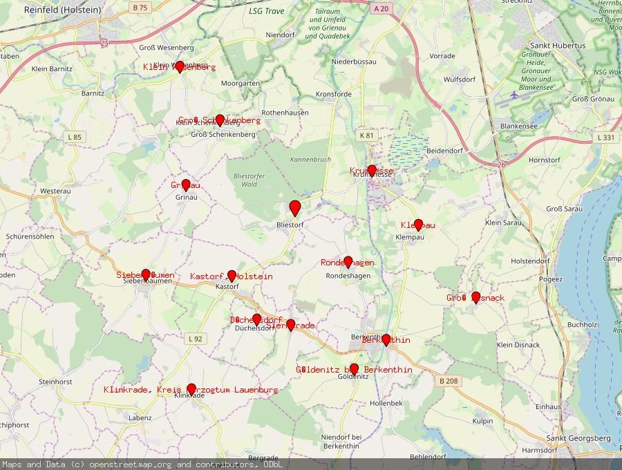 Landkarte von Bliestorf