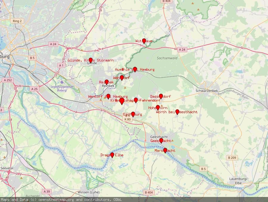 Landkarte von Börnsen
