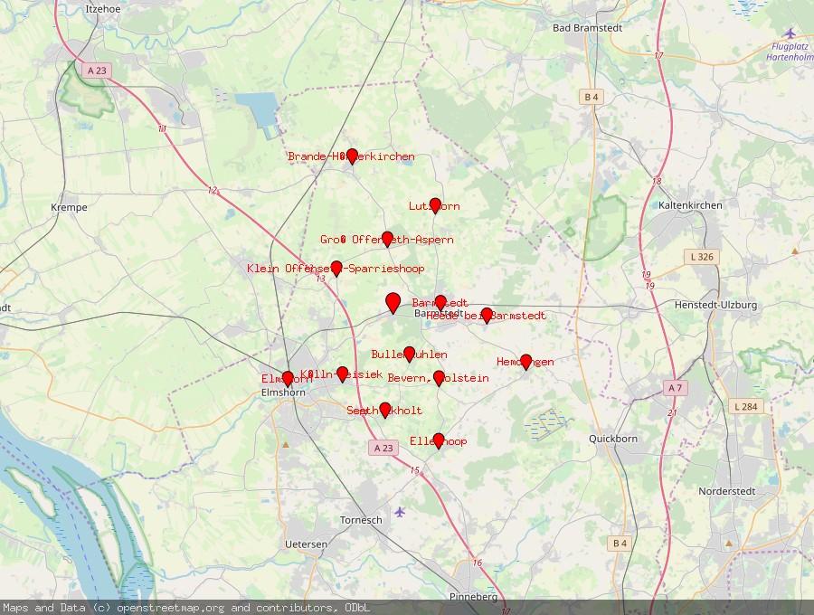 Landkarte von Bokholt-Hanredder