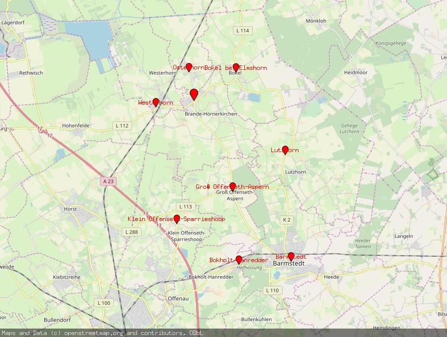 Landkarte von Brande-Hörnerkirchen