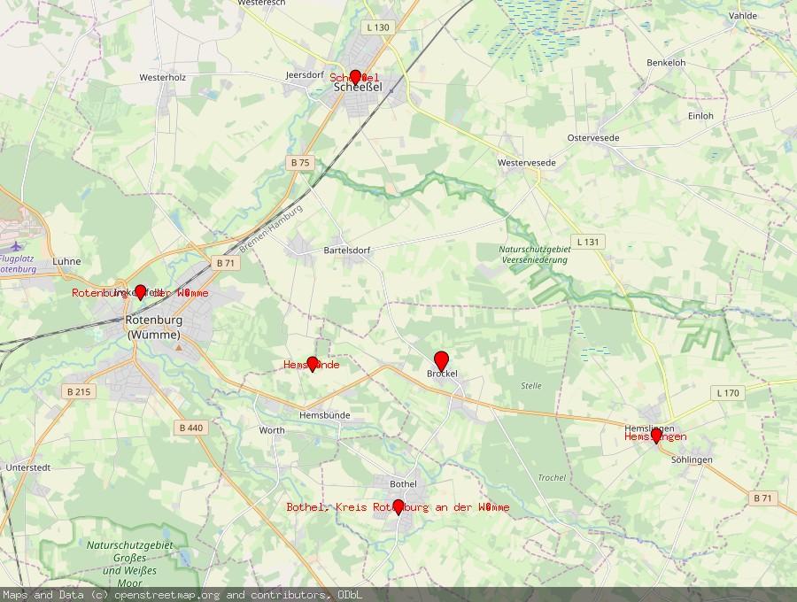 Landkarte von Brockel, Kreis Rotenburg an der Wümme