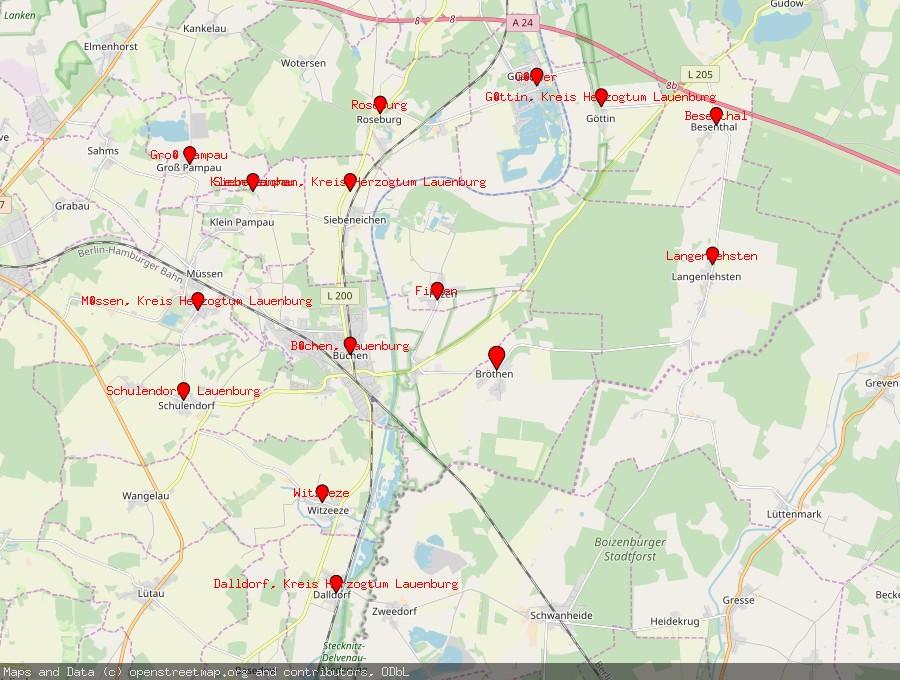 Landkarte von Bröthen, Kreis Herzogtum Lauenburg