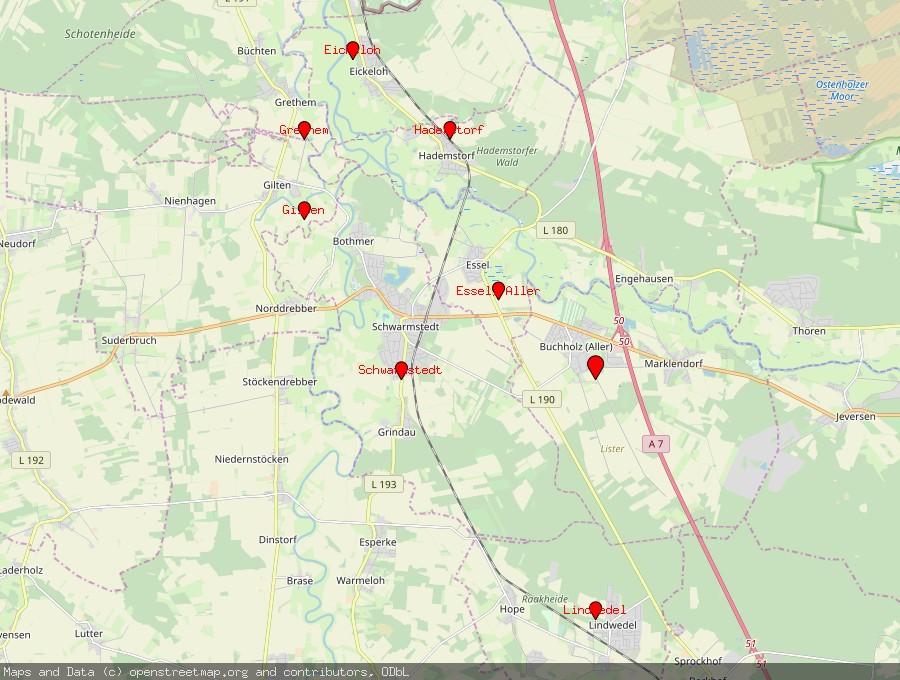 Landkarte von Buchholz (Aller)