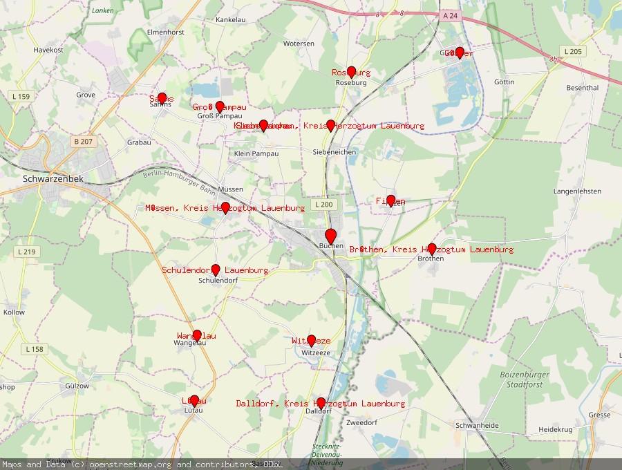 Landkarte von Büchen, Lauenburg