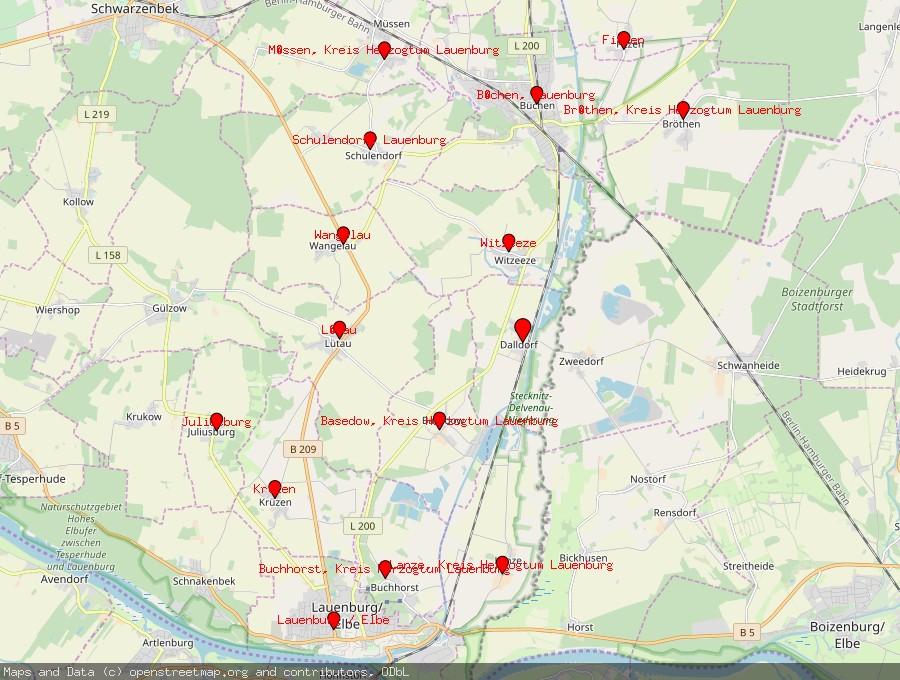Landkarte von Dalldorf, Kreis Herzogtum Lauenburg