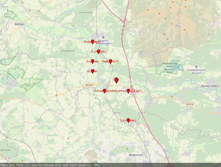 Landkarte von Essel, Aller
