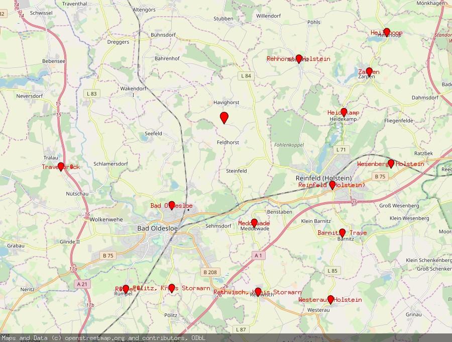 Landkarte von Feldhorst