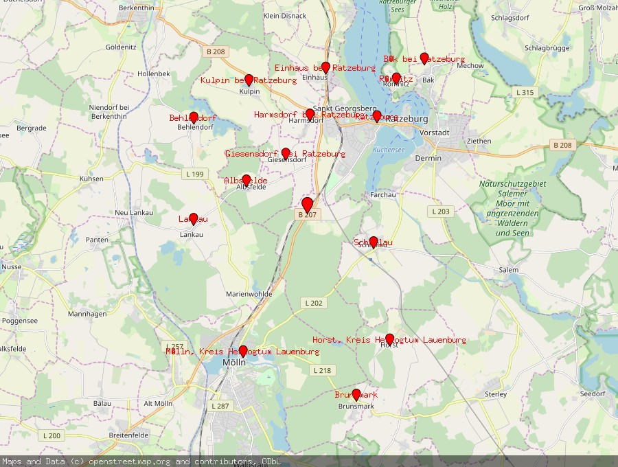 Landkarte von Fredeburg bei Ratzeburg