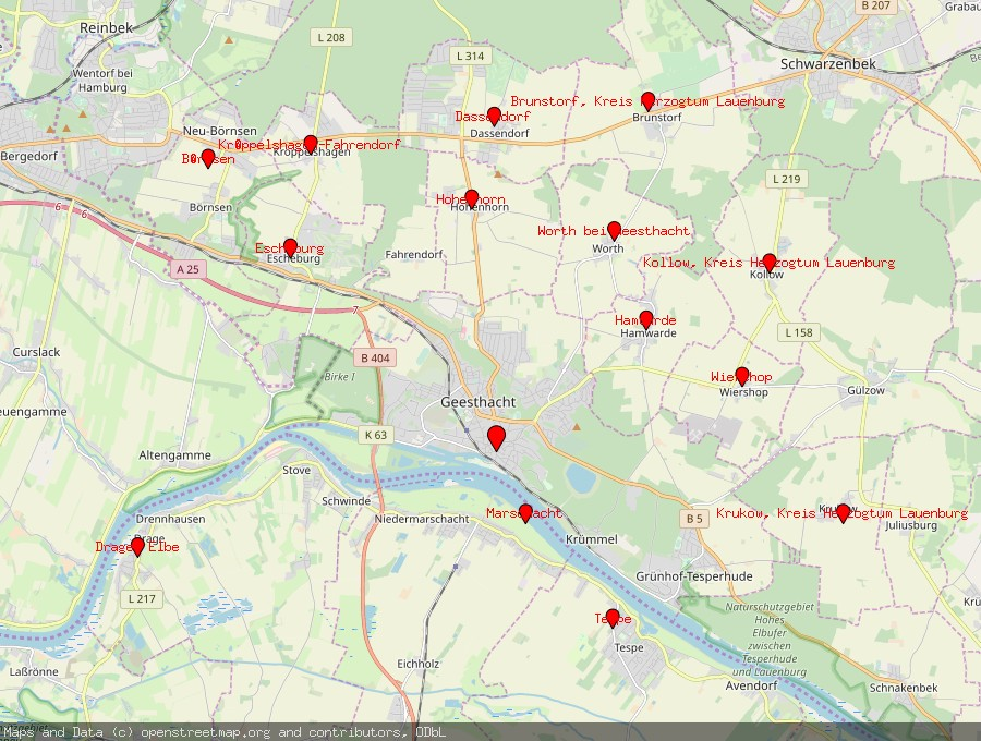 Landkarte von Geesthacht