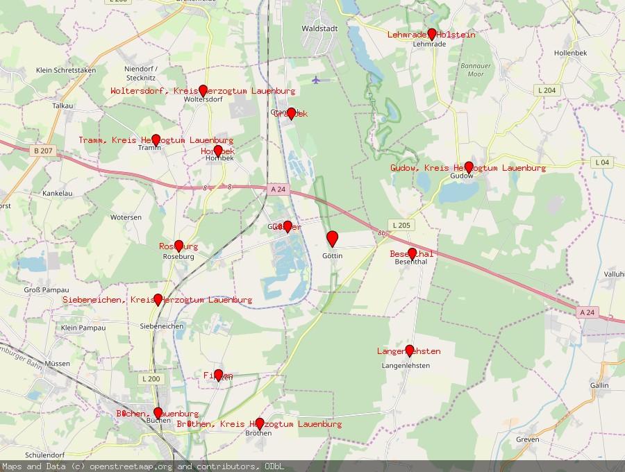Landkarte von Göttin, Kreis Herzogtum Lauenburg
