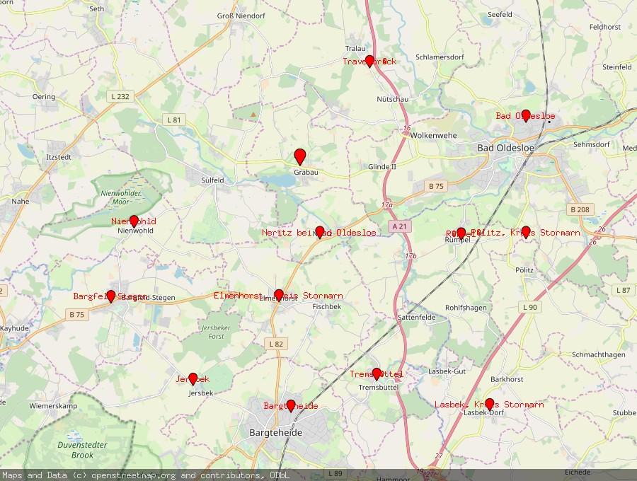 Landkarte von Grabau, Kreis Stormarn