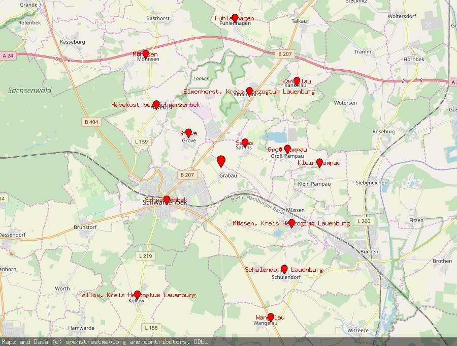 Landkarte von Grabau bei Schwarzenbek