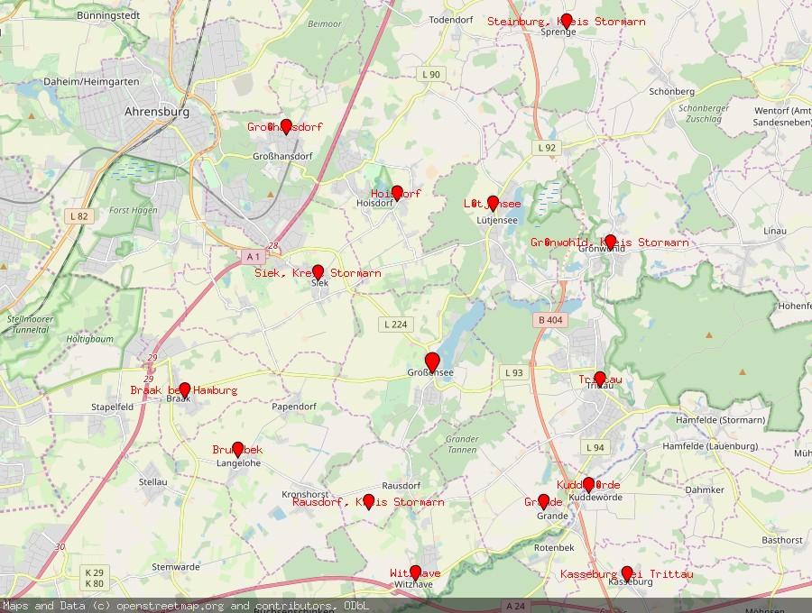 Landkarte von Großensee, Kreis Stormarn