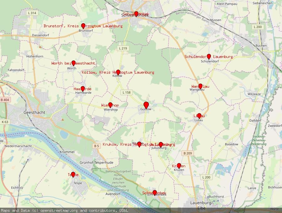 Landkarte von Gülzow, Kreis Herzogtum Lauenburg