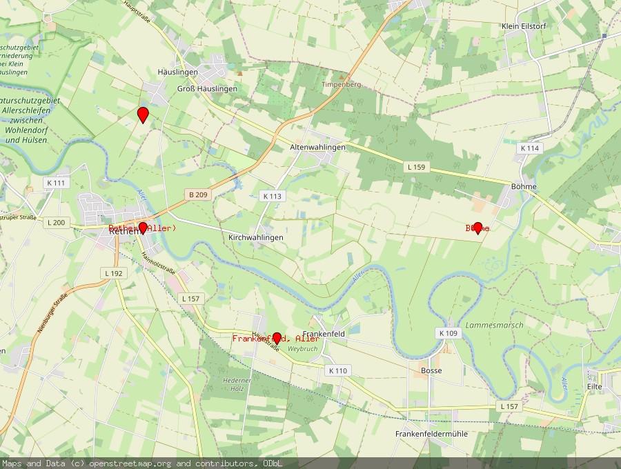 Landkarte von Häuslingen, Aller