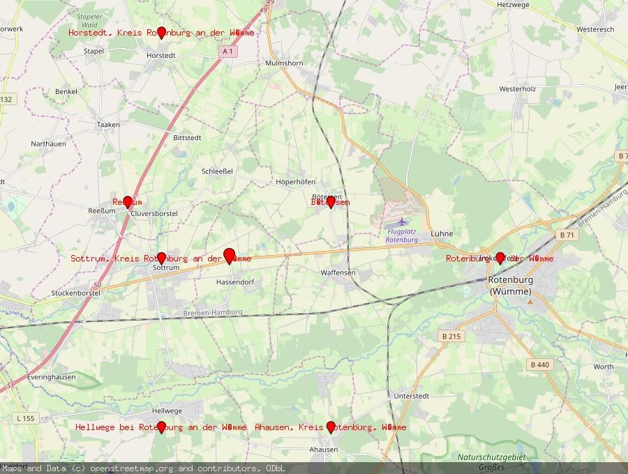 Landkarte von Hassendorf bei Rotenburg an der Wümme