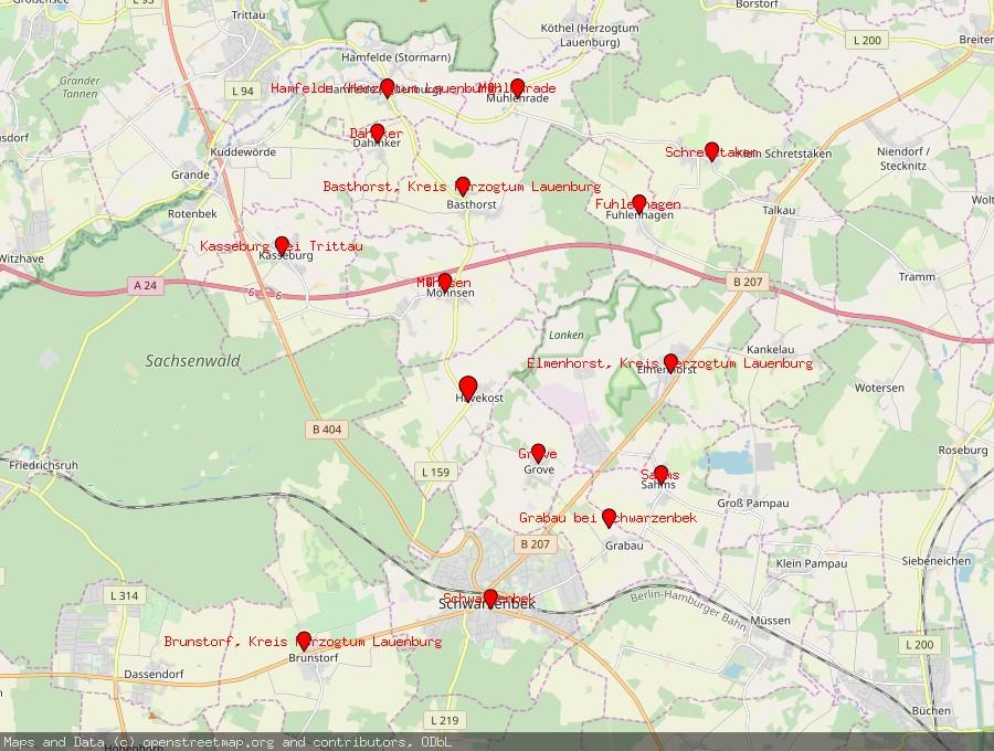 Landkarte von Havekost bei Schwarzenbek