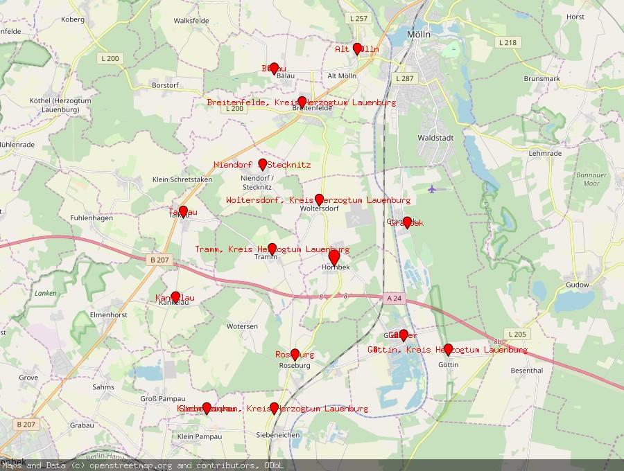 Landkarte von Hornbek