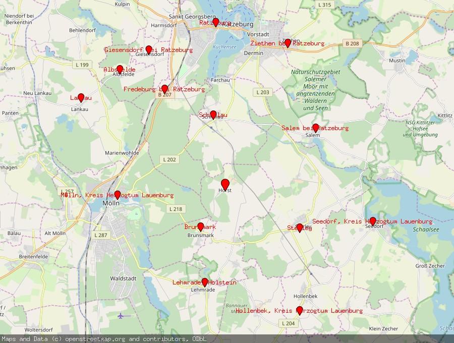 Landkarte von Horst, Kreis Herzogtum Lauenburg