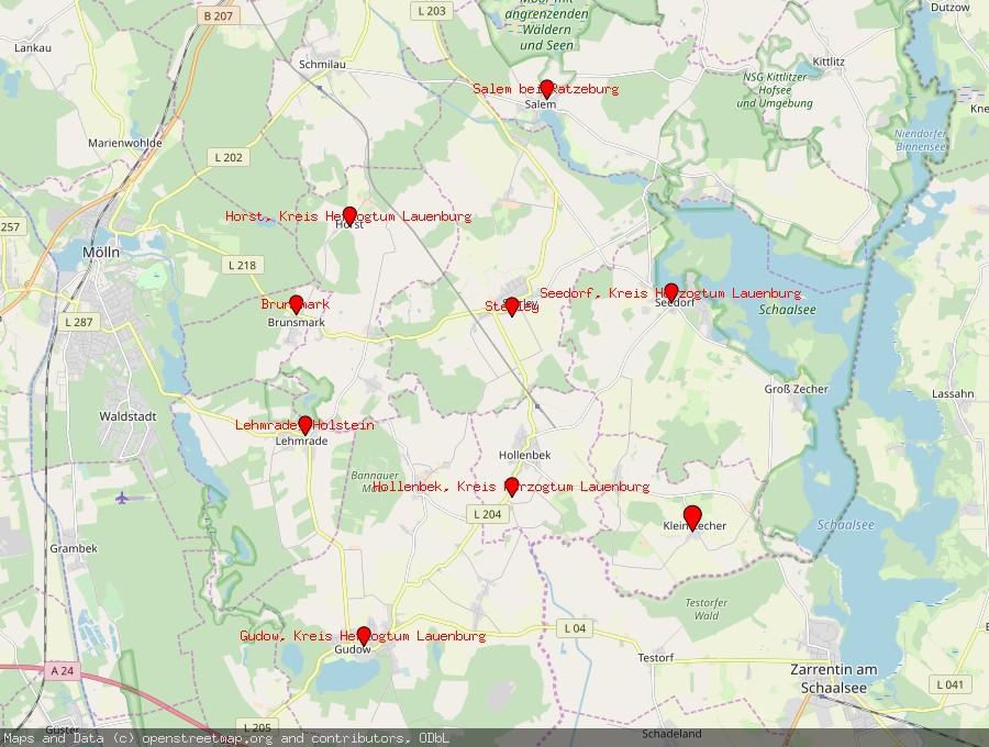 Landkarte von Klein Zecher