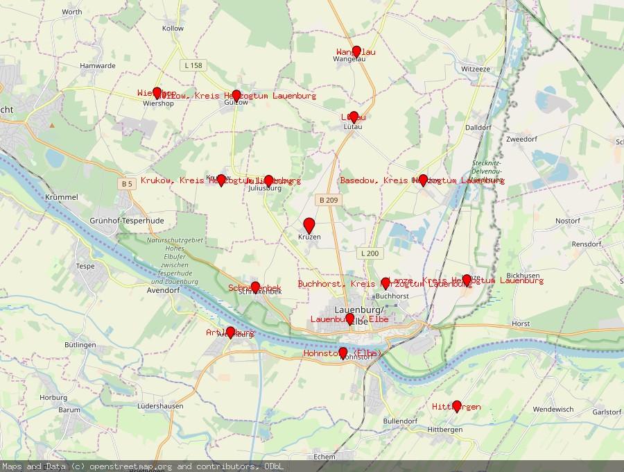 Landkarte von Krüzen