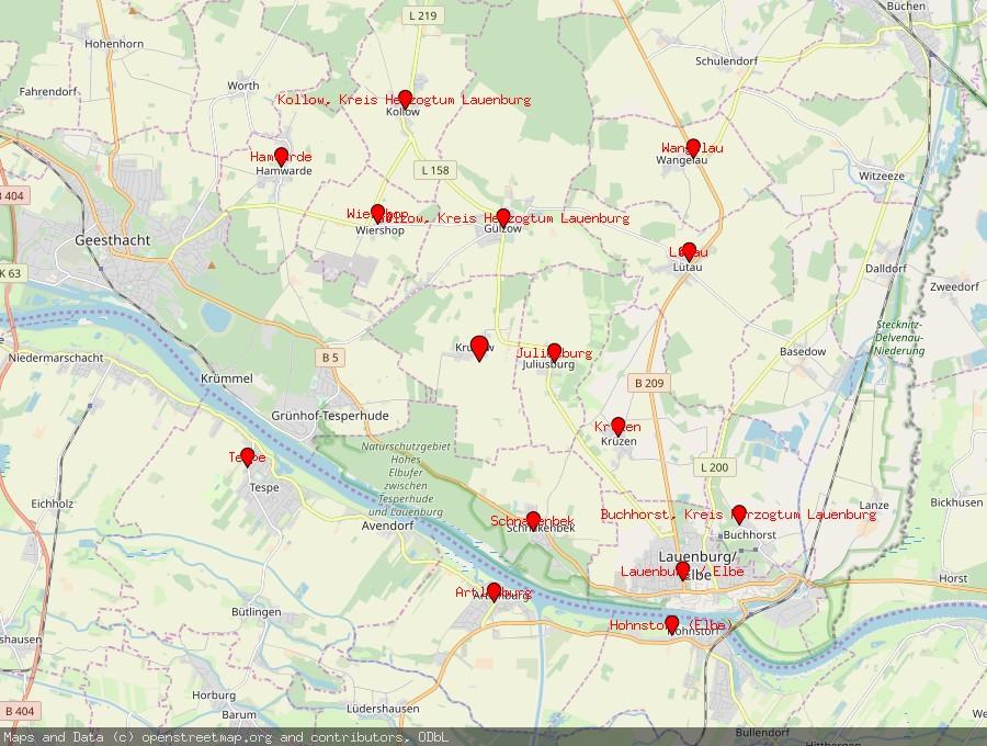 Landkarte von Krukow, Kreis Herzogtum Lauenburg
