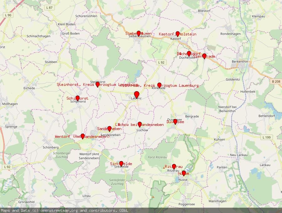 Landkarte von Labenz