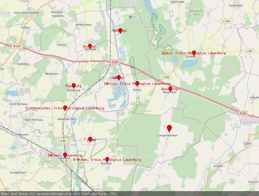 Landkarte von Langenlehsten