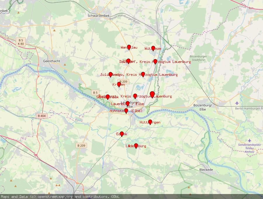 Landkarte von Lanze, Kreis Herzogtum Lauenburg