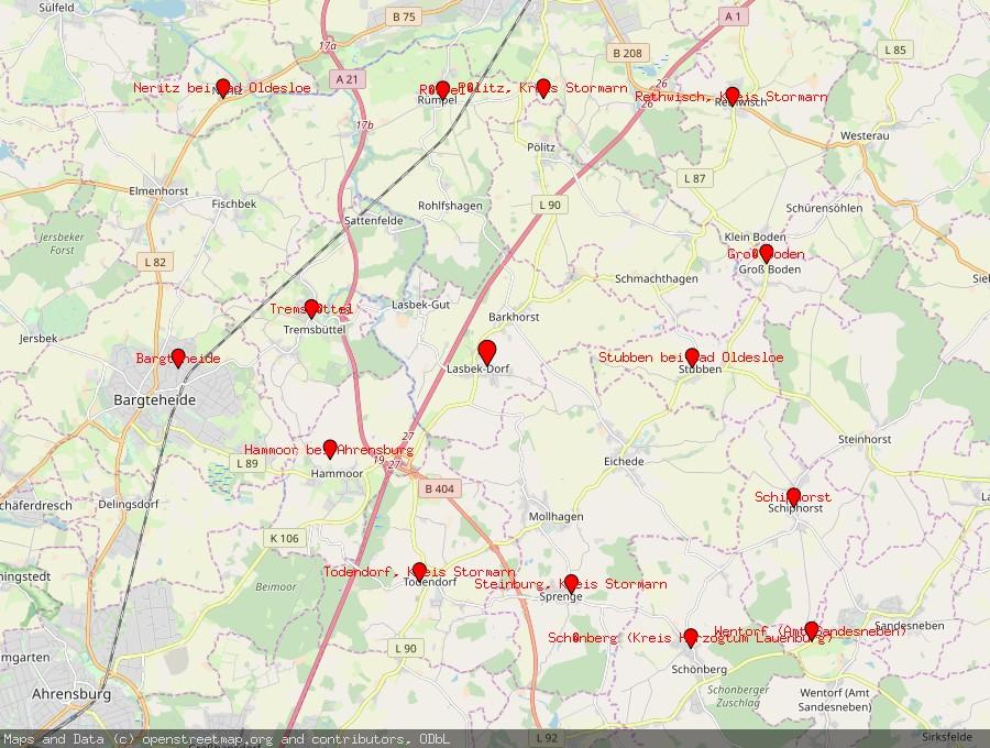 Landkarte von Lasbek, Kreis Stormarn