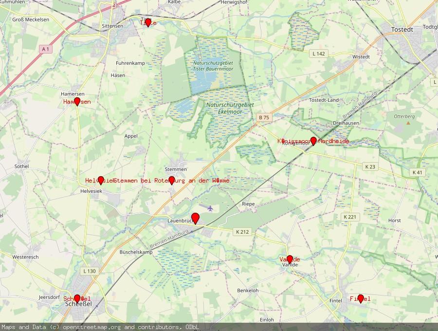 Landkarte von Lauenbrück