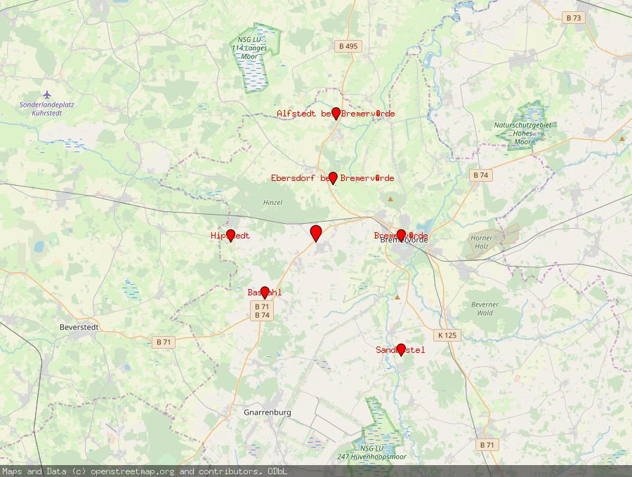 Landkarte von Oerel