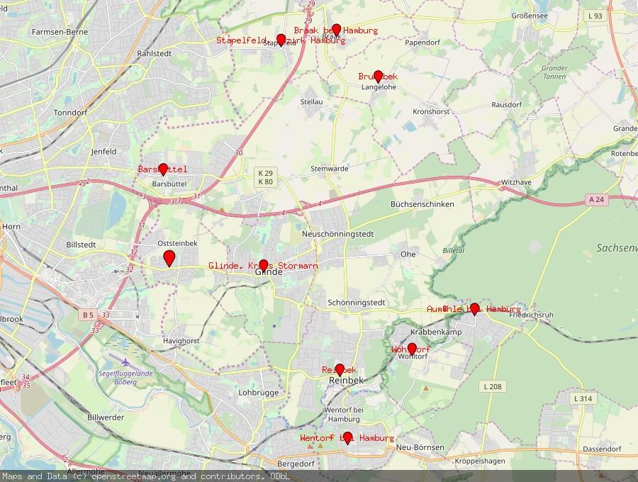 Landkarte von Oststeinbek