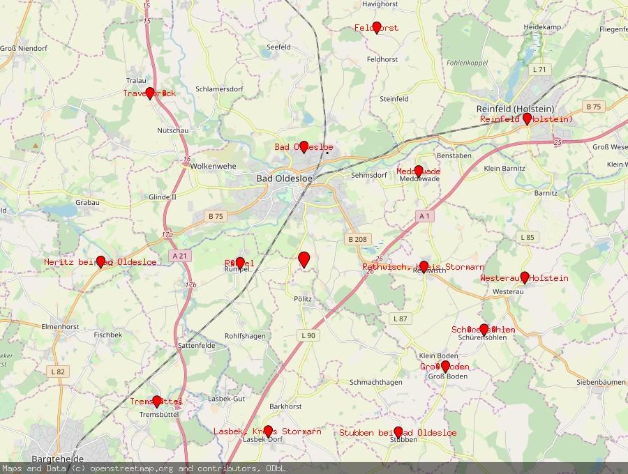 Landkarte von Pölitz, Kreis Stormarn
