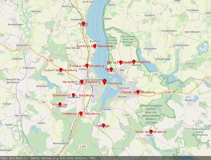 Landkarte von Ratzeburg