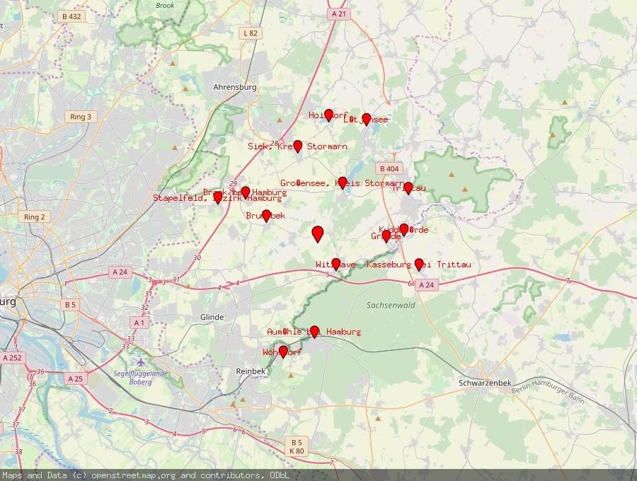 Landkarte von Rausdorf, Kreis Stormarn