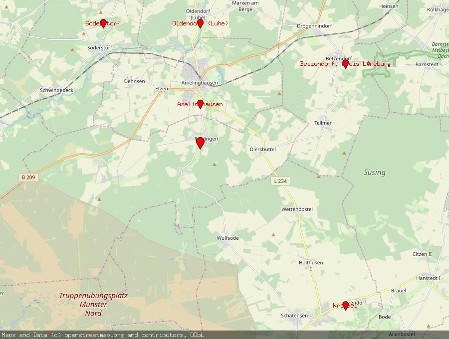 Landkarte von Rehlingen, Kreis Lüneburg