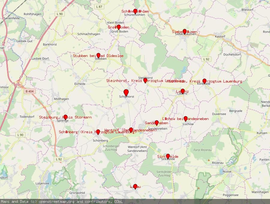 Landkarte von Schiphorst