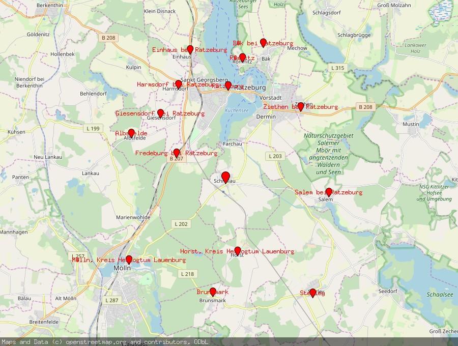 Landkarte von Schmilau