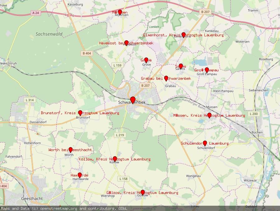 Landkarte von Schwarzenbek