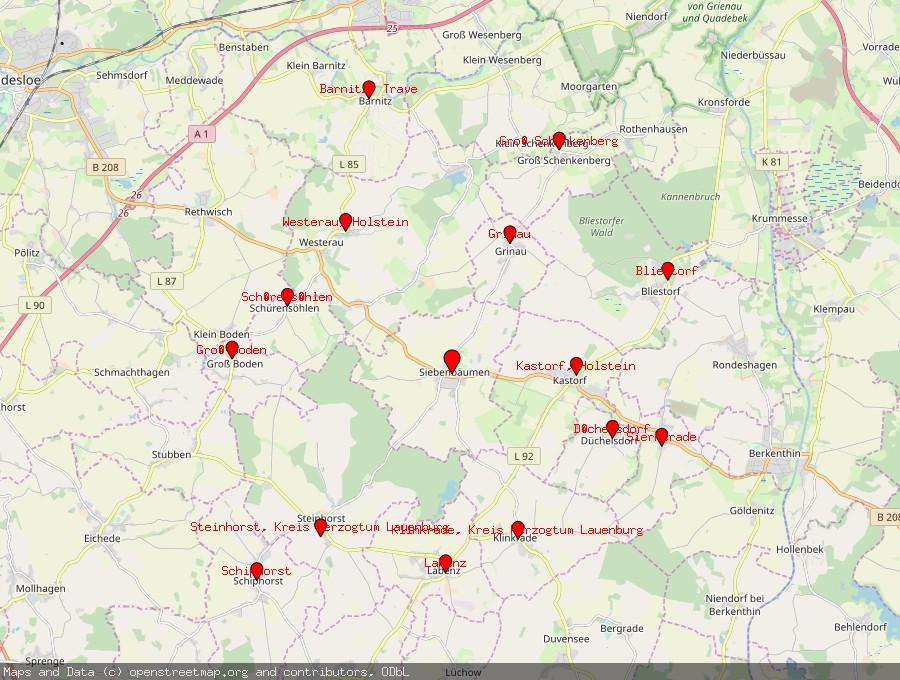 Landkarte von Siebenbäumen