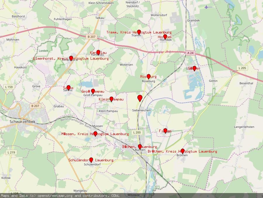 Landkarte von Siebeneichen, Kreis Herzogtum Lauenburg