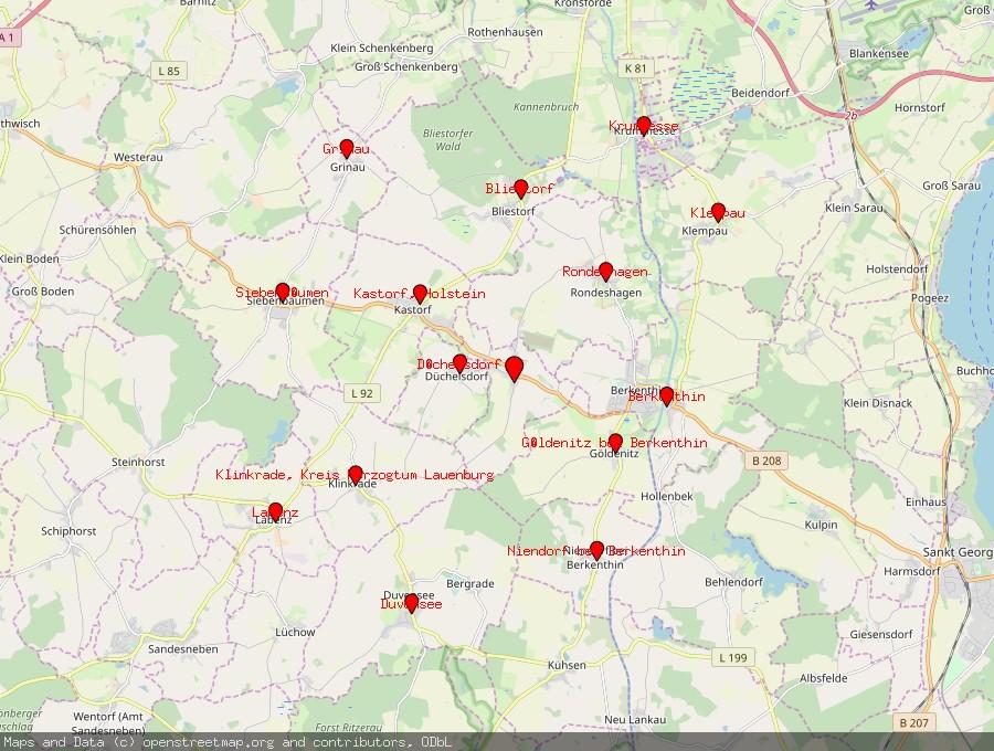 Landkarte von Sierksrade