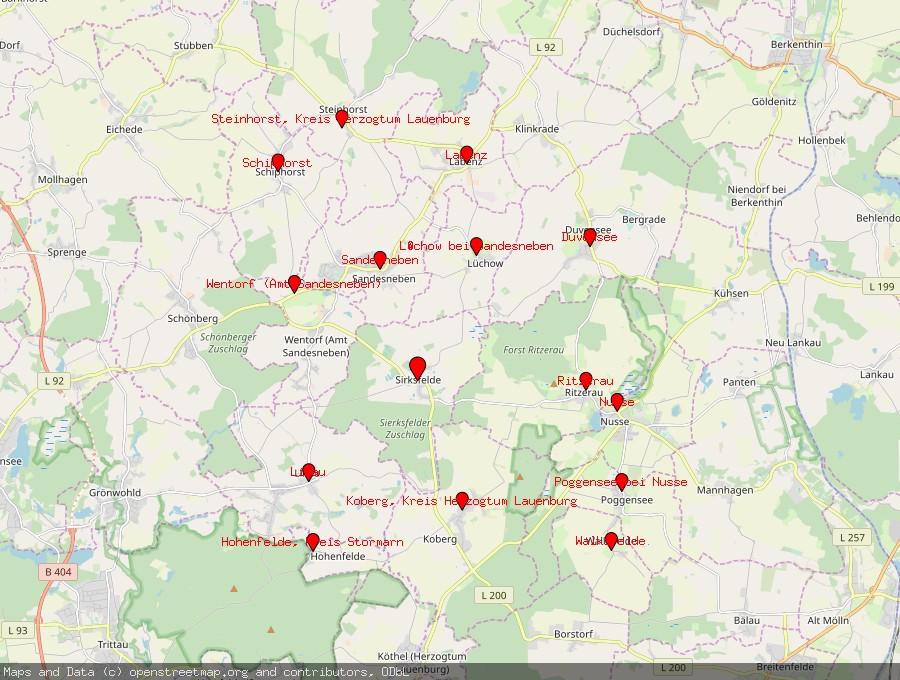 Landkarte von Sirksfelde