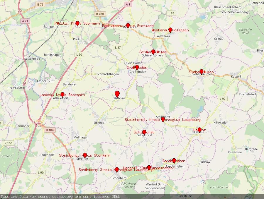 Landkarte von Stubben bei Bad Oldesloe