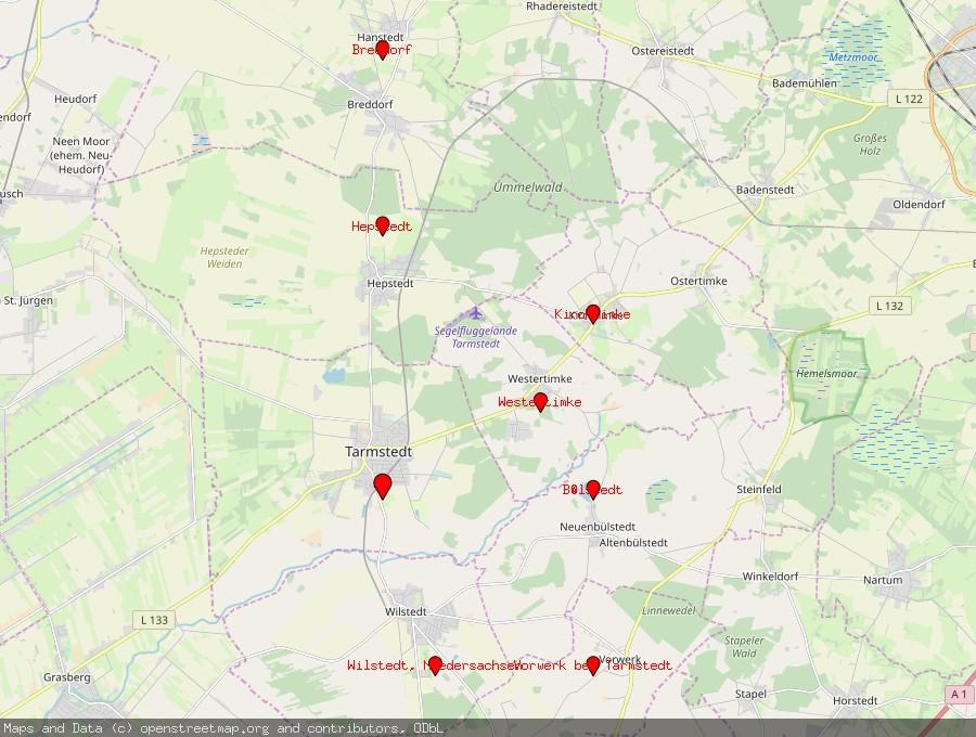 Landkarte von Tarmstedt