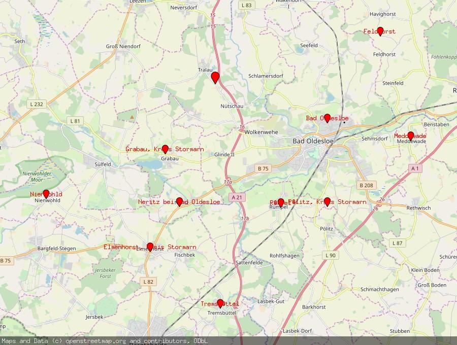 Landkarte von Travenbrück