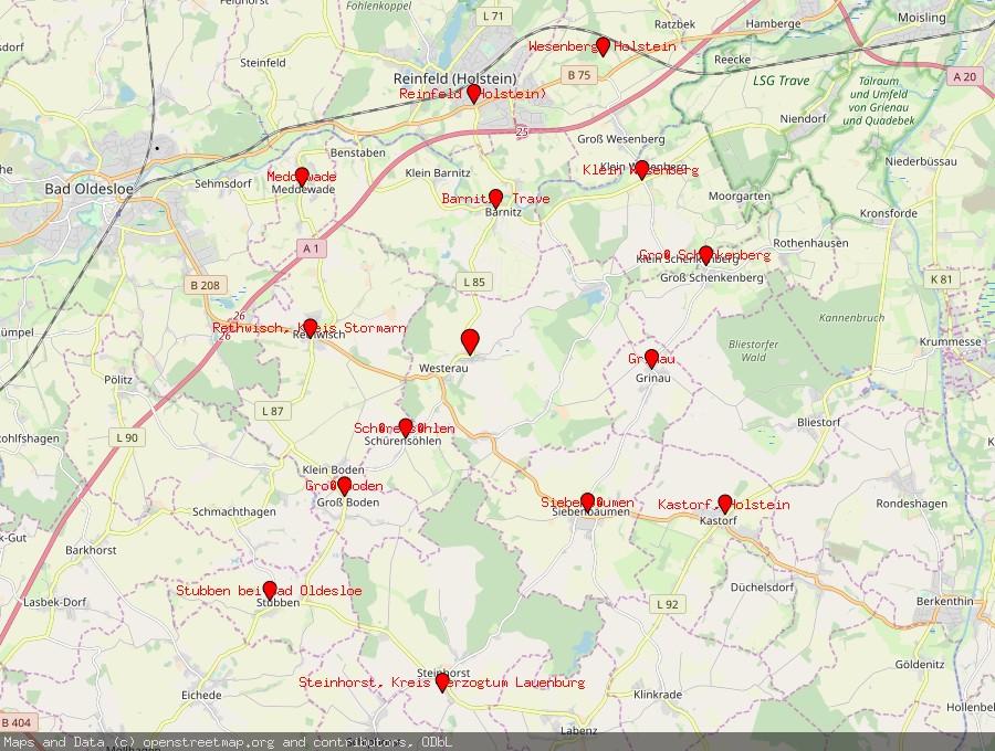 Landkarte von Westerau, Holstein